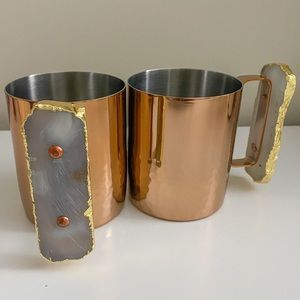 Anthropologie Moscow Mule Hammered Mugs x2